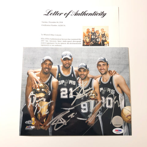 Tim Duncan signed 8x10 photo PSA/DNA Spurs Autographed Ginobili Parker Bowen