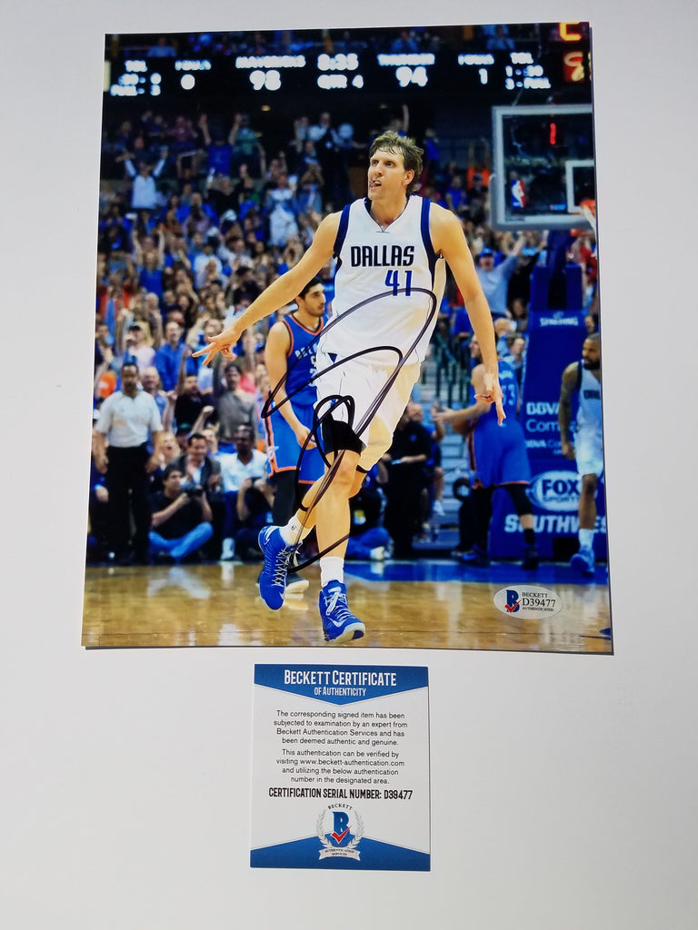 1c39f8e9d41 Dirk Nowitzki signed 8x10 photo BAS Beckett Dallas Mavericks Autographed