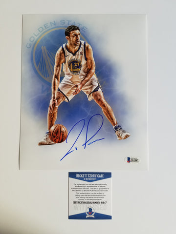 Zaza Pachulia signed 8x10 photo BAS Beckett Golden State Warriors Autographed