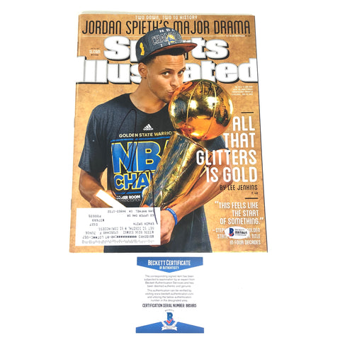 Stephen Curry Signed Sports Illustrated Magazine BAS Beckett Golden State Warriors Autographed