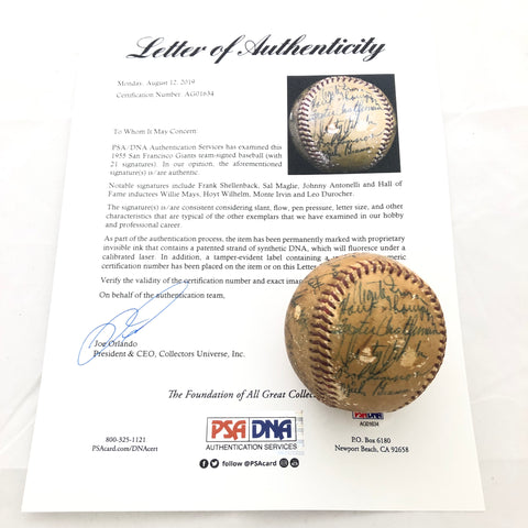 1955 New York Giants Team Signed Baseball PSA/DNA autographed Willie Mays Ball