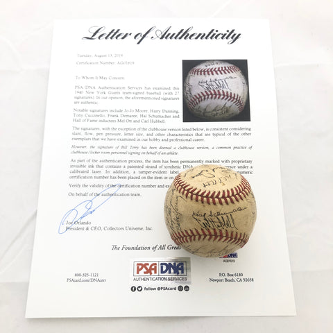 1940 New York Giants Team Signed Baseball PSA/DNA autographed Mel Ott Ball
