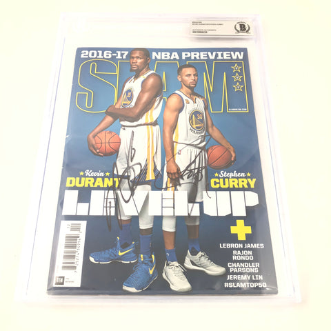 Stephen Curry & Kevin Durant Signed SLAM Magazine BAS Beckett Warriors Autographed Slabbed