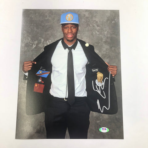Emmanuel Mudiay signed 11x14 photo PSA/DNA Denver Nuggets Autographed Jazz