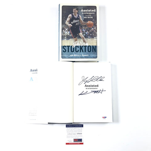 John Stockton Signed Book PSA/DNA Autographed Assisted Autobiography Utah Jazz