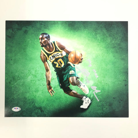 Gary Payton signed 11x14 Photo PSA/DNA Seattle Supersonics Autographed