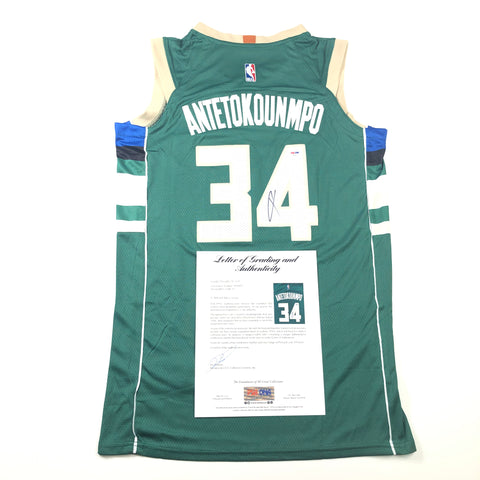 Giannis Antetokounmpo signed jersey PSA/DNA Auto Grade 10 Autographed LOA