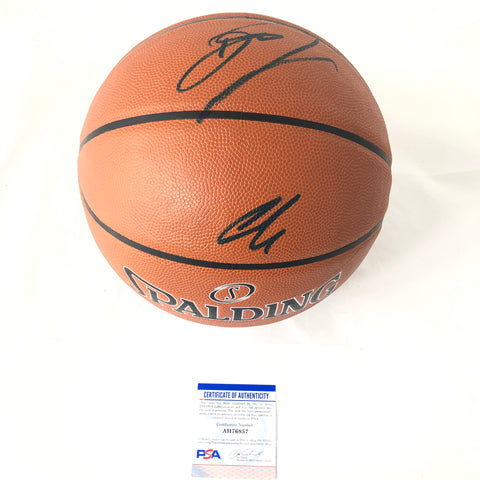 Luka Doncic Dirk Nowitzki signed Spalding Basketball PSA/DNA Dallas Mavericks Autographed