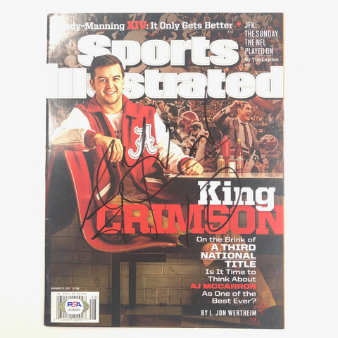 AJ McCarron signed SI Magazine PSA/DNA Alabama Crimson Tide Autographed