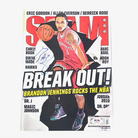 Brandon Jennings Signed Slam Magazine PSA/DNA Milwaukee Bucks Autographed