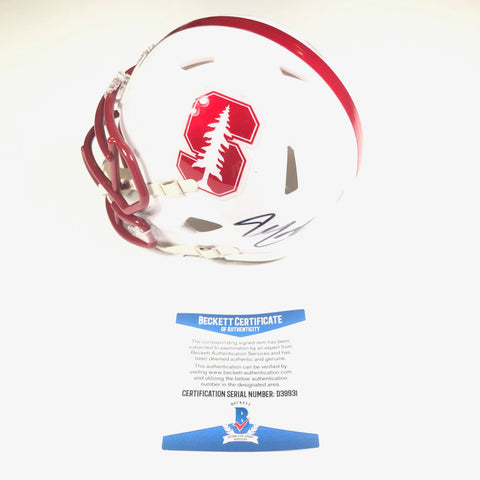 Bryce Love signed Mini Helmet BAS Beckett Stanford Cardinals autographed