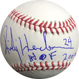 Rickey Henderson signed baseball BAS Beckett Athletics autographed inscription
