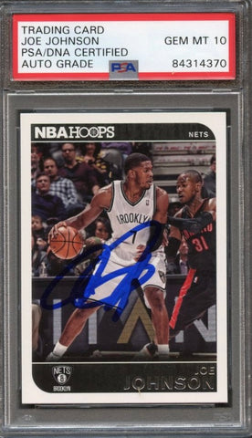 2014 NBA Hoops #43 Joe Johnson Signed Card AUTO Grade 10 PSA Slabbed