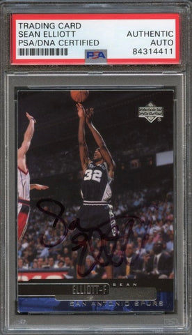 1999-00 Upper Deck #106 Sean Elliott Signed Card AUTO PSA Slabbed