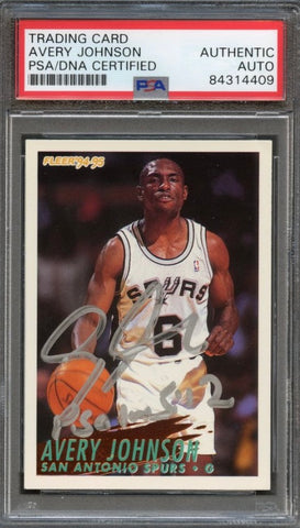 1994-95 Fleer #367 Avery Johnson Signed Card AUTO PSA Slabbed