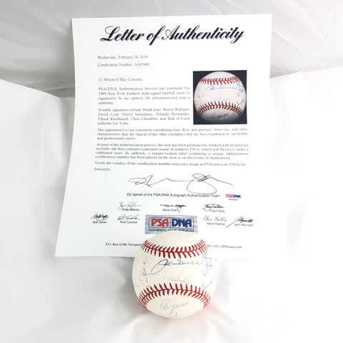 1999 New York Yankees Signed 1999 WS Baseball PSA/DNA LOA Derek Jeter Torre