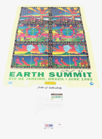 Peter Max signed 24x34 Poster PSA/DNA LOA Earth Summit