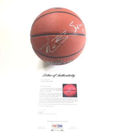 Steve Nash Grant Hill Shawn Marion Signed Basketball PSA/DNA Phoenix Suns LOA
