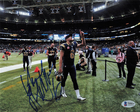 John Hekker signed 8x10 photo BAS Becker Los Angeles Rams Autographed