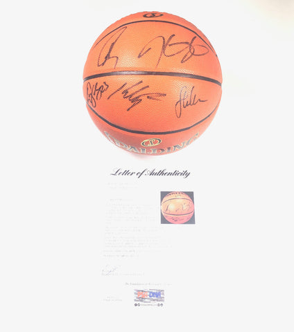 2017-18 Warriors Team Signed Basketball PSA/DNA Autographed LE Finals Ball