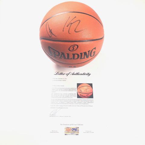 Stephen Curry Klay Thompson signed Basketball PSA/DNA LOA Warriors Steph