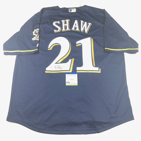 Travis Shaw signed jersey PSA/DNA Milwaukee Brewers Autographed
