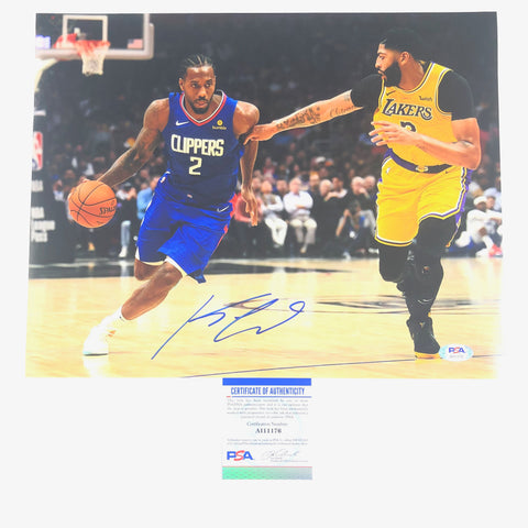 Kawhi Leonard Signed 11x14 Photo PSA/DNA Los Angeles Clippers Autographed