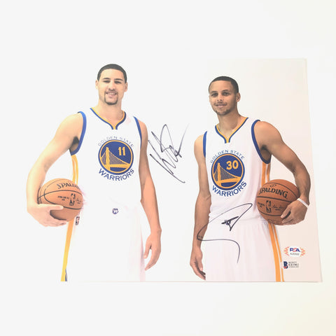 Stephen Curry Klay Thompson signed 11x14 Photo PSA/DNA BAS Beckett