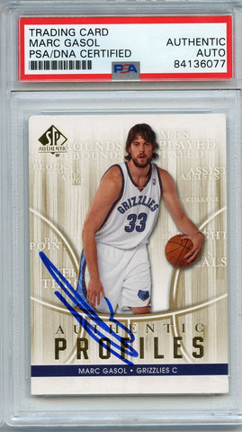 Marc Gasol SP Authentic AUTO card PSA Slabbed Autographed Signed Upper Deck