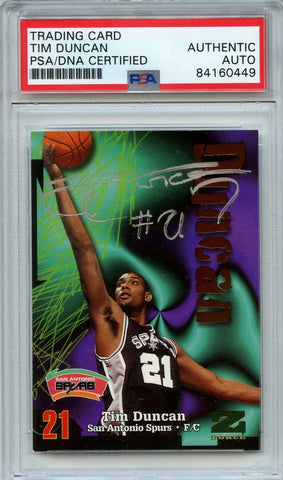 Tim Duncan 1997 Skybox Z-Force AUTO PSA Slabbed Autographed Signed RC