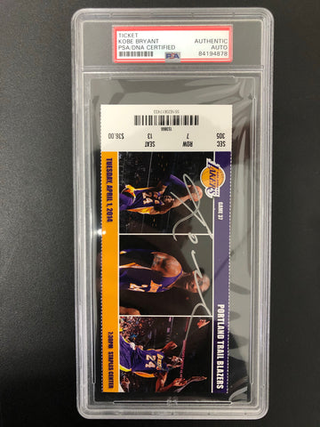 Kobe Bryant Signed Game Ticket Stub PSA/DNA Autographed Slabbed Encapsulated