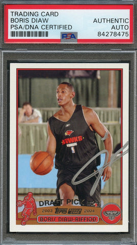2003 NBA Topps #241 Boris Diaw-Riffiod Signed Card AUTO PSA Slabbed RC