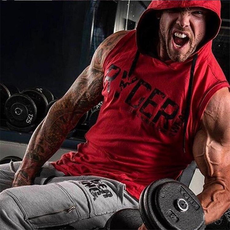 T shirt men cotton sleeveless Hoodies Sweatshirts Gyms fitness Bodybuilding Hooded Vest Crossfit clothing  fashion sportswear