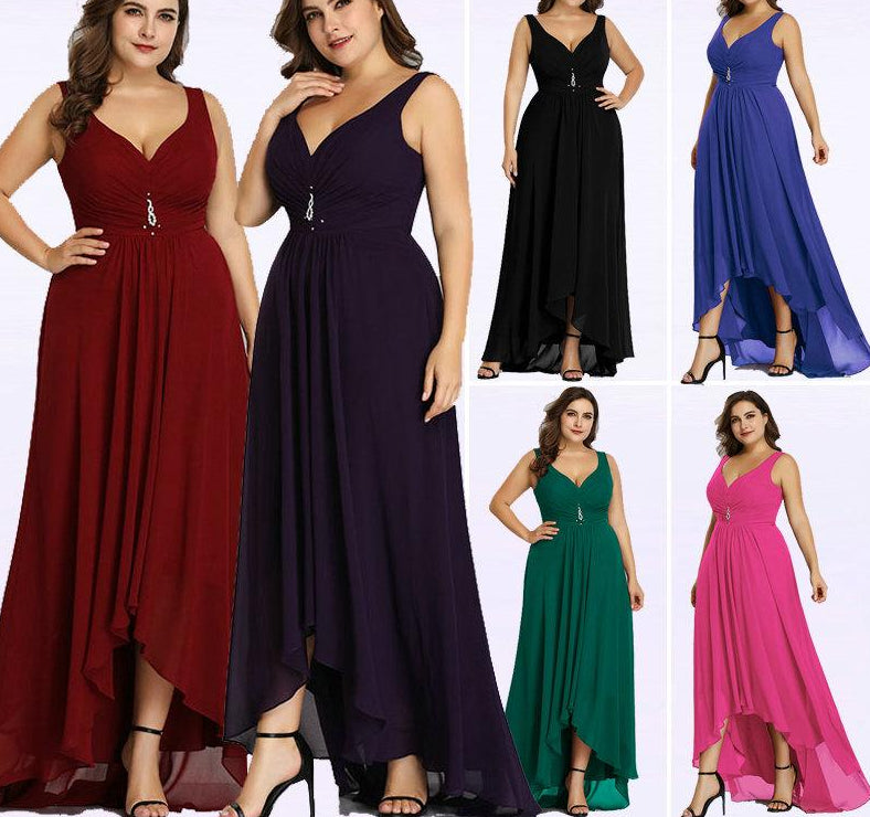 Plus Size Evening Sleeveless Crystal Special Occasion Dresses