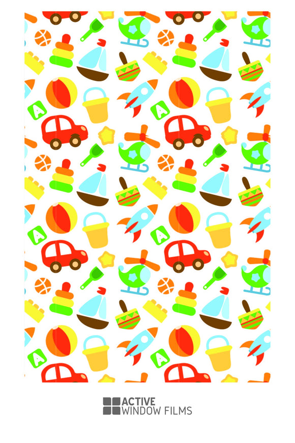 Childrens Toy Pattern Print Bespoke Custom Frosted Window Film