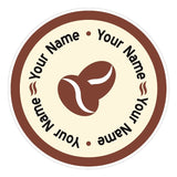 C9 - Customisable round cafe, coffee bean window sticker, high quality, vinyl sticky plastic, Commercial Window Glass Stickers