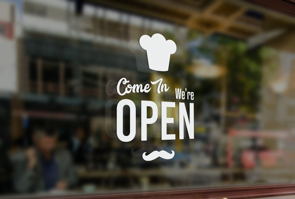 BK4 - Bespoke bakery open sign, vinyl cut window sticker, contour cut, for commercial windows/glass or walls.