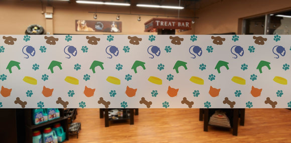 P1 - Pet shop / Vet banner frosted window privacy partition - screening window partition decal.