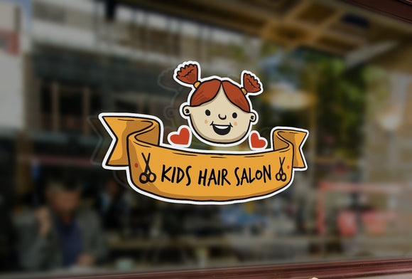Bespoke kids hair salon sign window sticker, a high quality, vinyl sticky back plastic decal, Commercial Window Glass Stickers