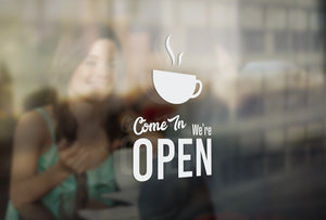 C13 - Bespoke cafe open sign, vinyl cut window sticker, contour cut, for commercial windows/glass or walls.