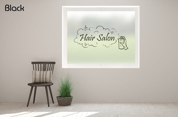 B21 - Hair salon, hair spray printed bespoke custom frosted window film