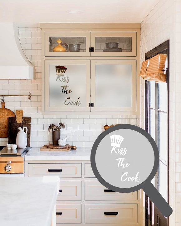 Kiss the cook cut out, bespoke, custom, frosted kitchen window film