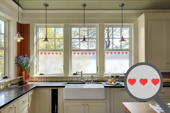 Bespoke printed heart repeated pattern, custom, decorative, frosted home window film.