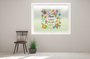 G3 - Vibrant florist 'flowers sold here' printed bespoke custom frosted window film