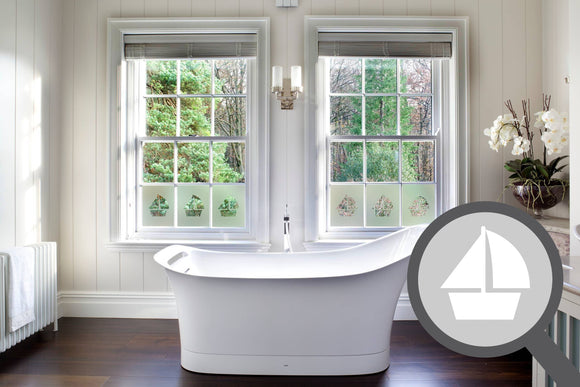 Bespoke cut out boat, custom, decorative frosted bathroom window film.