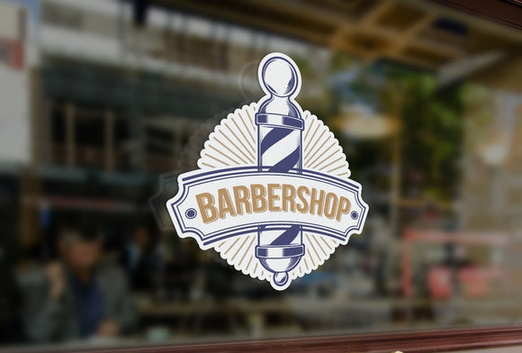 Bespoke barber shop sign window sticker, a high quality, vinyl sticky back plastic decal, Commercial Window Glass Stickers