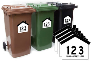 Custom Personalised House Shaped Wheelie Bin Number and Road Name 4 pack
