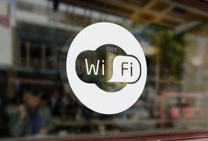 C6 - Free wifi sign, vinyl cut window sticker, contour cut, for commercial cafe windows/glass or walls.