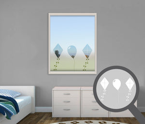 Kites cut out, bespoke, custom, frosted childrens window film