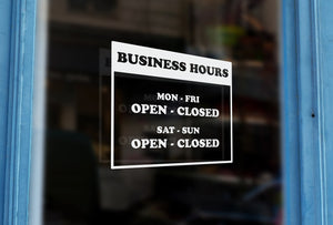 LS15 - Bespoke business hours & opening hours, vinyl cut window sticker, contour cut, for commercial windows/glass or walls.